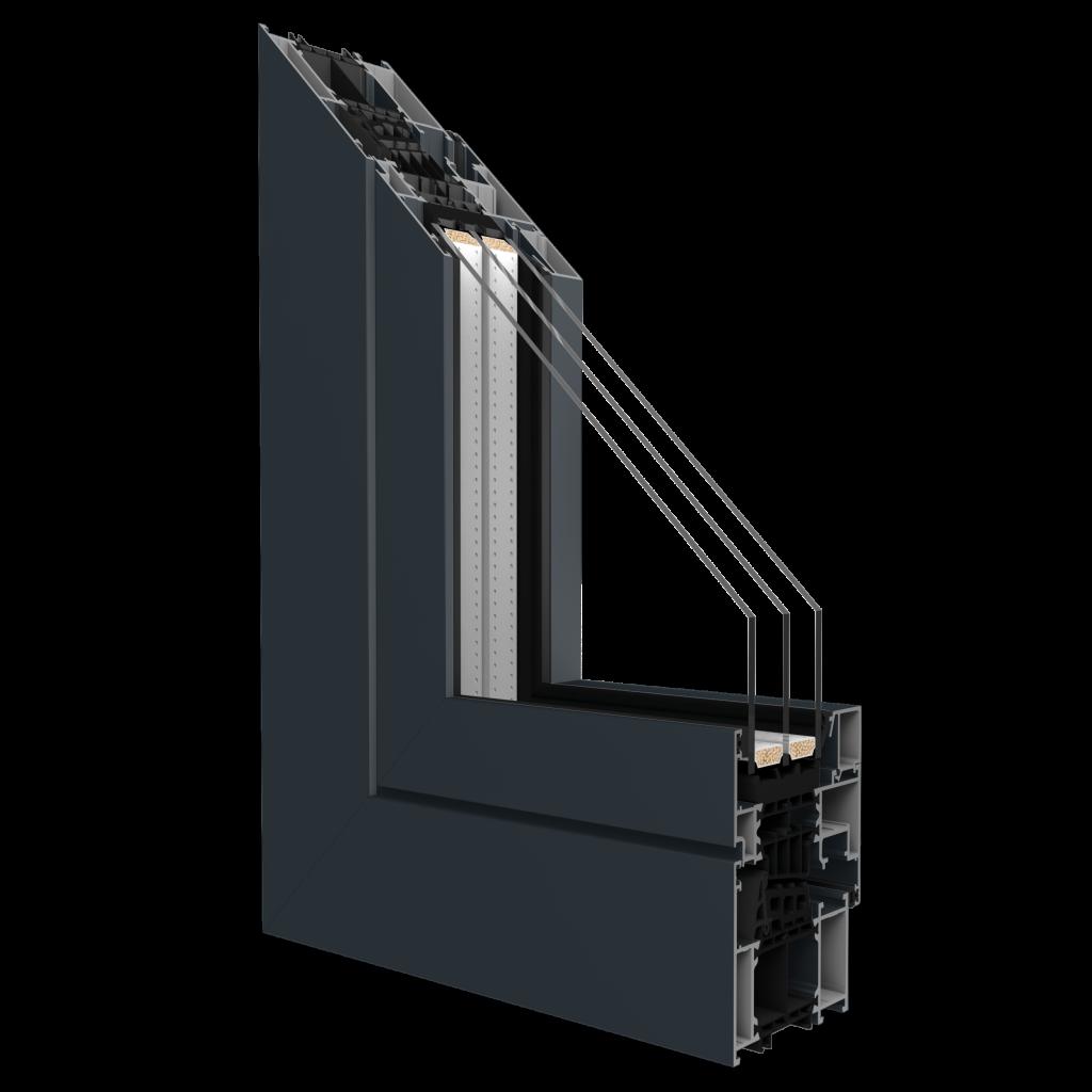La sezione di un serramento in alluminio