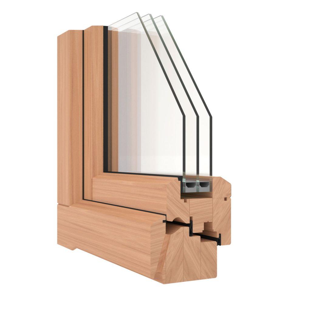 La sezione di un serramento in legno